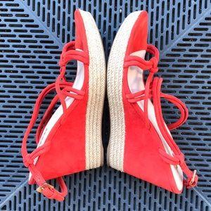 Sale 💯 PRADA red suede wedges